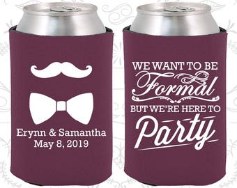 We want to be Formal, but we are here to party, Mustache and Bow Tie, Wedding Reception, Romantic Wedding, Wedding Can Holders (593)