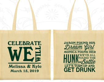 Canvas Bags, Celebrate We Will, Personalized Wedding Bags, Wedding Favors, Personalized Bags, Custom Bags, Cotton Bags (C518)