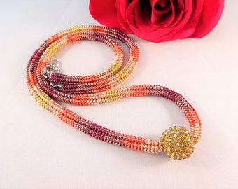 Bead Rope Jewelry, Sister Beaded Necklace, Seed Bead Necklace, Ombre Necklace, Elegant Beaded Necklace for Her, Color Grades Necklace