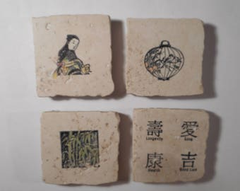 """Decorative Magnets on 2"""" by 2"""" Tumbled Marble Tiles Oriental Motifs"""