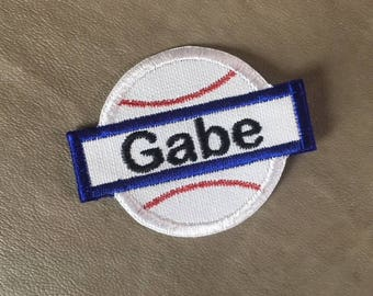 BASEBALL APPLIQUE Name Patch - Iron On - 3 Sizes - Style 27, Kids Patches, Bag Patch, Tote Patch, Back Pack Patch, Ready to Ship 1-2 Days!