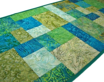 """Modern Quilted Table Runner, Reversible Batik Patchwork Table Runner, Turquoise and Green Table Mat, 42""""x14"""", Quiltsy Handmade"""