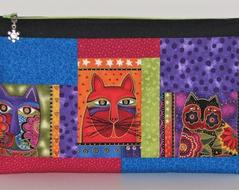 Large Modern Zippered Pouch, Cosmetics Bag, Project Bag, Zippered Clutch, Laurel Burch Cats Pouch, Gift for Cat Lover, Quiltsy Handmade