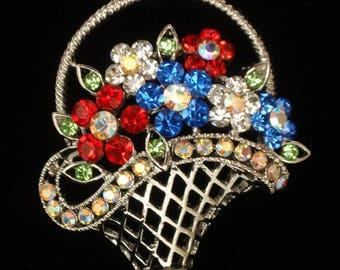 Flower Basket Brooch Pin Mulit-Colored Rhinestones Vintage