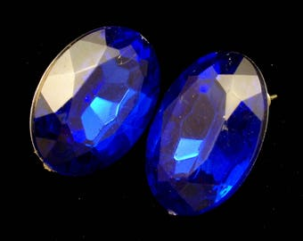 Faceted Blue Stone Oval Earrings with Posts