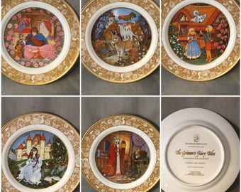 Sets of 5 (Five) Franklin Porcelain Grimm's Fairy Tale Collector's Plates, Excellent Condition, 1978