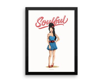 FRAMED Amy Winehouse Soulful Poster, Future is Female, Music Gift for Her, Who Run the World, Girls Pop Art, Women, Type, Feminism Art Print
