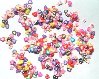 Mini Heart Love Slice Fimo Confetti Shapes Slime Nail Art Crafting Tiny shapes Rainbow Multicolor small mini slices valentineconfetti