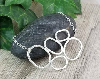 Sterling Geometric Ovals Necklace