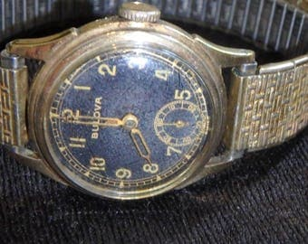 1940s bulova trench military 10BS MOVEMENT WATCH gold filled wind up