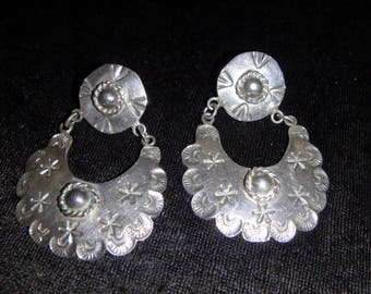vintage tm-194 taxco mexico sterling silver large dangle earrings 925