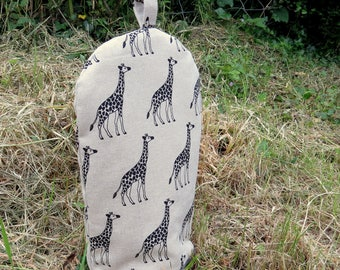 Cafetiere cosy, size small.  Made to fit a 2 cup cafetiere.  Giraffes.
