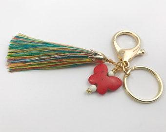 Butterfly key chain, gold key chain, tassel keychain