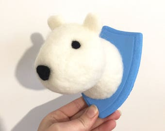 Polar bear head Trophy Handmade Needle Felted small christmas
