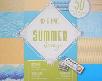"Block 50 sheets 15 x 15 cm ""Summer breeze"" scrapbooking"