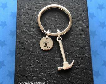 Personalised gift for carpenter - Hammer keyring - Carpenter gift - Initial keychain - Hammer keychain - Stocking filler - Secret Santa - UK