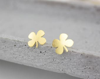 Gold gold-plated four-leaf - clover earrings B42