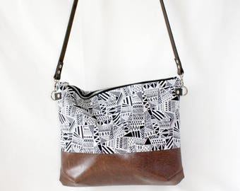 Pattern cross body bag with leather handle, ladies handbag, handbag, shoulder bag, Tote, ladies bag