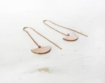 Rose gold semi-circle circle threader earrings earrings c22