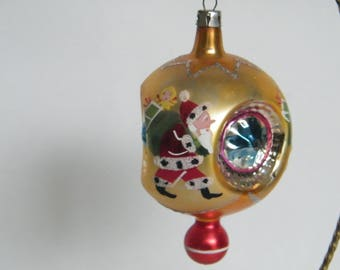 Vintage mercury glass triple indent Christmas Ornament With Santa Claus, star indent and unique knob on the bottom made in Poland