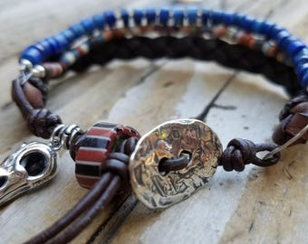 Mens Lapis Bracelet with Hill Tribe Silver and Leather, Sterling Silver Bird Skull Bracelet, African Trade Bead Bracelet, Braided Leather,
