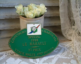 French vintage green wall sign. Award plaque. Green and gold. French country. Agricultural prize. Rustic farmhouse. French home decor