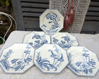 Set of 6 Antique french blue transferware dessert plates. French ironstone Blue transferware French transferware. Jeanne d'Arc living
