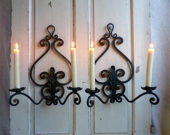 Antique french wrought iron candle sconces. Verdigris Patina iron chateau sconces Large candles. Jeanne d'Arc living. Rustic French Nordic