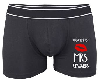 Personalised Property of Mrs Boxer Shorts Groom Gift Personalised Underwear, Groom Gift, Anniversary Gift, Stag Gift, Wedding Gift.