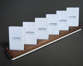 Multiple Vertical Business Card Display / Walnut and Acrylic Vertical MOO Business Card Stand / Wood Vertical Card Holder