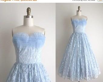 """SALE 50% OFF 1950s Party Dress / Vintage 1950s Dress / Blue Lace Prom Dress 25"""" Waist"""