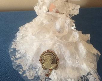 Bridal Purse, Cameo Wedding Purse, Bridal Money Bag, Lace and Satin Purse, Swarovski Crystal