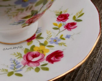 Vintage Queen Anne Bone China Tea Cup & Saucer {Pattern 8456: 'Spring Flowers'}