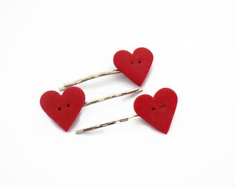 Matching Set of 3 Polymer clay bobby pins, Heart hair pins,  girl accessory for your hair, for my daughter to wear on her birthday party