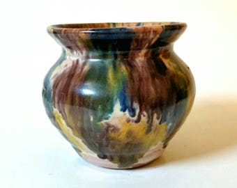 Vintage Williamsburg Handmade Pottery Vase, Small Glazed Pot, Flower Pot, Multicolor Ceramic Vase, Drip Glaze Pottery