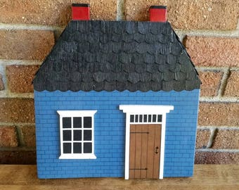 Vintage Wooden Cottage Wall Hanging, Miniature House Sculpture
