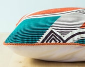 African Print Cushion– Throw Cushion – African Fabric Pillow–Interior Update–Tribal Pattern–Turquoise–Orange–African Décor–African Textiles