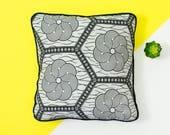 African Print Pillow - African fabric cushion - Living Room Decor  - Ankara Cushion - Cushion Cover - African Decor - Black white hexagon