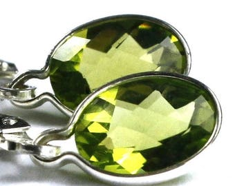 On Sale, 20% Off, Peridot, 925 Sterling Silver Leverback Earrings, SE001