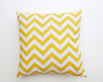 "Corn Yellow Slub Chevron Zigzag 100% cotton HOme Decorative Throw Pillow case, Lumbar Cover, Zippered Sham cover 20x20"" and Many More"