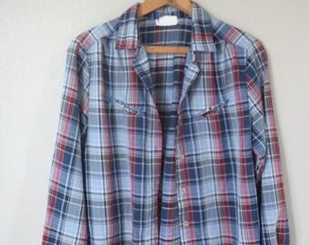 vintage blue western cut plaid cowboy  button up shirt *