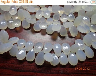 """40%DIS 8"""" 9X14mm Natural White Chalcedony Faceted Pear Briolette Beautiful White Chalcedony Briolette"""