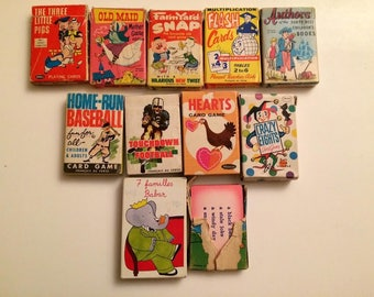 Vintage Whitman Russell Decks of Childrens Card Games Hearts Crazy Eights Doctor Quack Old Maid Snap Authors Three Little Pigs More