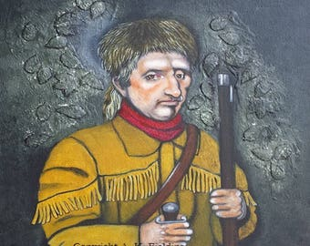Original Historical Daniel Boone Americana Frontier American History Patriotic Mixed Media Portrait by A.K. Fielding - Not a Print