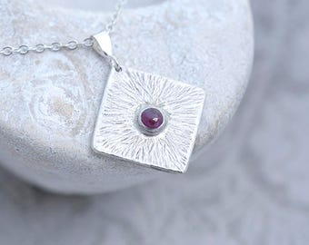 Ruby Jewelry, Ruby Pendant, Square Silver Pendant with Ruby, Textured Silver with Ruby Necklace, July Birthstone Pendant, Ruby Jewellery