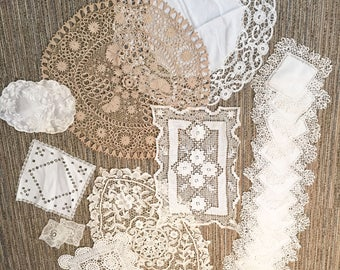 Beautiful lot of 22 Various sizes French Antique crocheted Doilies