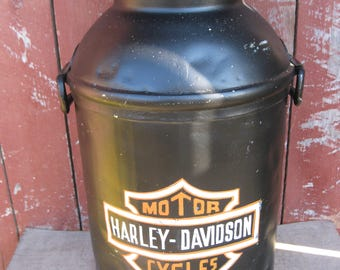 "Antique Decorated Milk Can Hand Painted ""Harley Davidson"" Logo"