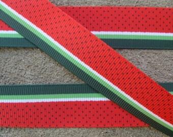 """3 yards Red Watermelon Ribbon 7/8"""" grosgrain ribbon Hair Bow Supplies Summer fruit hair bow printed ribbon dots ribbon"""