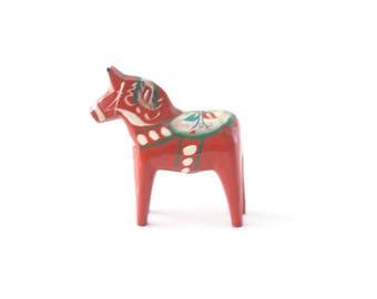 Vintage Dala Horse orange Sweden 3 inch