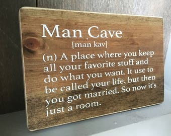Man Cave definition - wood sign